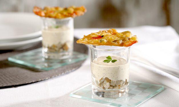 Tortillitas de verduras con salsa de trufa y setas
